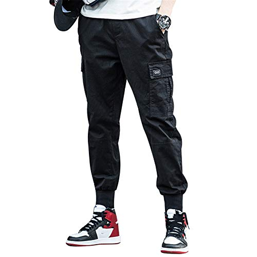 BaronHong Korean Fashion Men Streetwear Hosen Cargo Pants Men Loose Harem Pants (schwarz, XXXXXL)