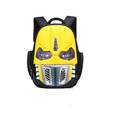 Alipher School Backpack Waterproof Kids Backpack Comic School Bag Student Bookbag Transformers Small Size Yellow