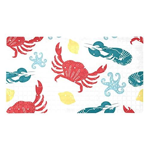 GORDESC Alfombrillas de baño originales (39,8 x 70,9 cm), diseño de cangrejo de cangrejo de cangrejo pulpo con estampado de limón para adultos y niños, bañeras suaves y sin textura