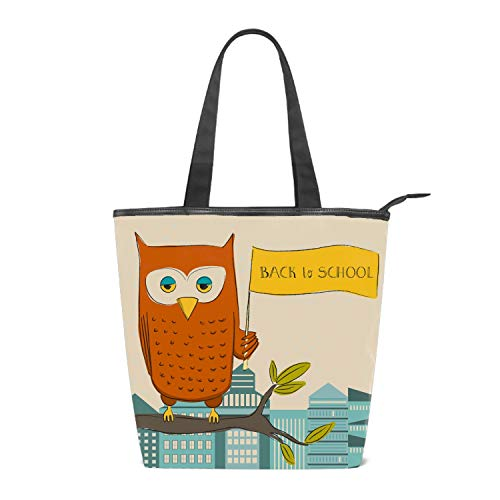 Women's Canvas Zipper Closure Handbag Owl Back To School Handbags Shoulder Lunch Tote Bag with Large Capacity Best Gifts for Teen Girls