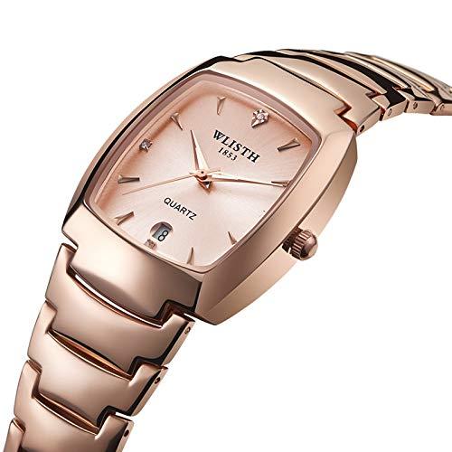 ZWH Woolei Male Reloj Pareja Reloj Reloj de Hombre Cuadrado Reloj Nocturn Light Watch Watch Steel Strip Watch (Color : G)