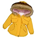 Ropa para niños Chaqueta acolchada Chaqueta acolchada con capucha para niños Más terciopelo engrosado 2021, Amarillo1, 130 cm