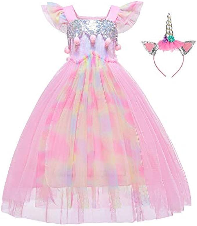 BanKids Unicorn Dress for Girls Unicorn Costume Pageant Princess Party Dress with Unicorn Headband for Girls 3-12 Years