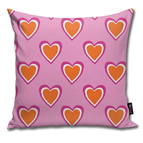 Funda de cojín decorativa con diseño de corazones rosas y naranjas para regalo de cumpleaños, boda, pareja, aniversario, graduación, 45,7 x 45,7 cm