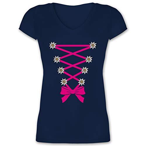 Kompatibel mit Oktoberfest Damen Trachtenshirt - Dirndl mit Edelweiß - XXL - Dunkelblau - Trachten Kleidung Damen - XO1525 - Damen T-Shirt mit...