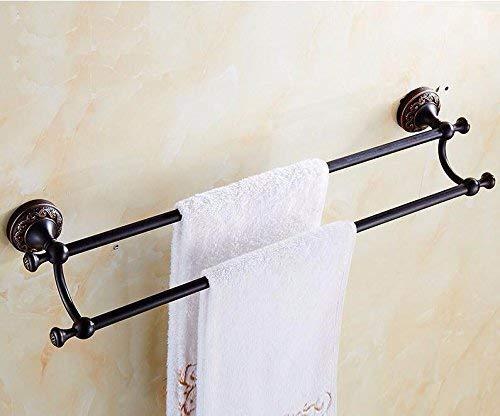MLOZS Montado en la Pared de baño Toalla de Toallas Barra Doble Accesorios Cepillado Simple Negro 55cm