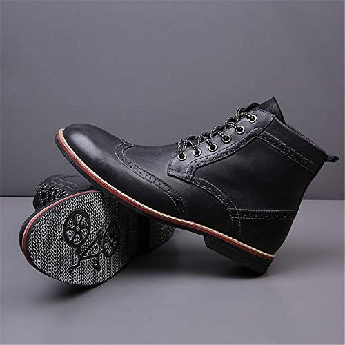 LSGEGO Men's Retro Leather Oxford Boots Lace Up Brogue Casual Moccasins Shoes for Men Dress Ankle Boots