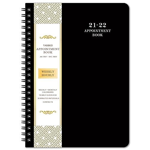 """2021-2022 Planner & Appointment Book - July. 2021 to June. 2022, 6.4"""" x 8.5"""", Daily/Hourly Planner with Tabs, Black"""