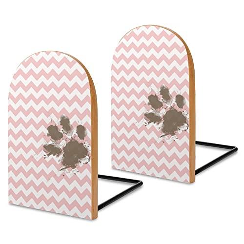 Fermalibri in legno, 2 pezzi, divertente stampa di zampa su rosa baby-pink,Fermalibri decorativi in legno a zigzag per scaffali, robusti supporti per libri per ufficio, riviste