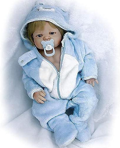 Babypuppen,23 '' Lebensechtes Baby Reborn Bonacas 57 cm Voll Silikon Vinyl Reborn Babies Puppe Spielzeug Alive Boy Baby Doll für Kinder Jungen, mädchen Geburtstagsgeschenke, braune Augen