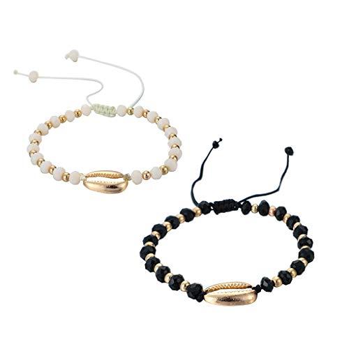 Armband Für Damen Mode Einfach Kette Frauen Armbänder Hochzeit Accessoires Persönlichkeitsschwarzweiss Perlenweben Armband Legierung Shell Ocean Wind 2 Stück Armband Schmuck