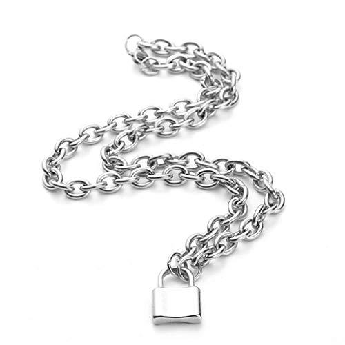 N/X Nuevo diseño de Oro y Plata con Colgante, Collar de Gargantilla, Collar de candado de Acero Inoxidable, Colgante para Regalo de joyería de Moda Femenina