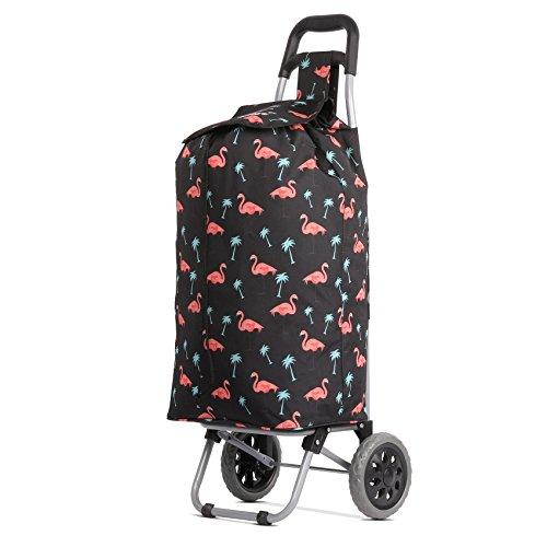 Hoppa 47L Einkaufstrolley Groß Einkaufsroller Wasserdicht Einkaufswagen Wagen (Schwarz Flamingos)