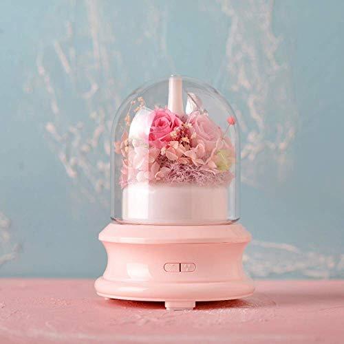 WANG Flor fresca preservada Flor inmortal Lámpara led colorida Mini humidificador de aire mudo Cumpleaños de Navidad Regalos creativos,Rosado