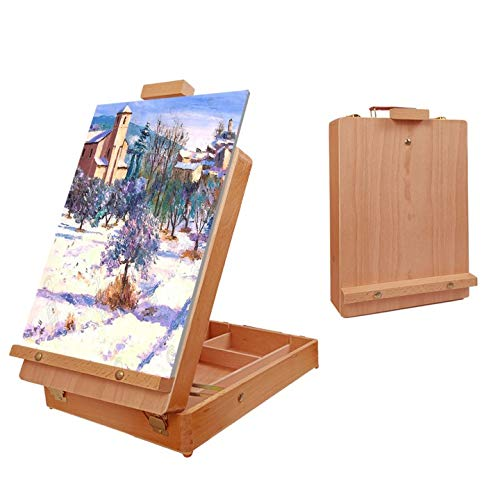 Louise Maelys Tabletop Easel Beechwood Art Easel for Painting Canvases Table Easel Stand for Painters Painting by Numbers, Students Beginners Artist Adults