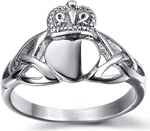 NA Anillo de Acero Inoxidable para joyería, Anillo clásico clásico de la Corona del corazón de Claddagh, Plata