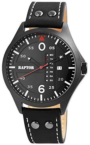 Raptor Herren-Uhr Echt Leder Armband Datum Wochentag Analog Quarz RA20264 (schwarz)