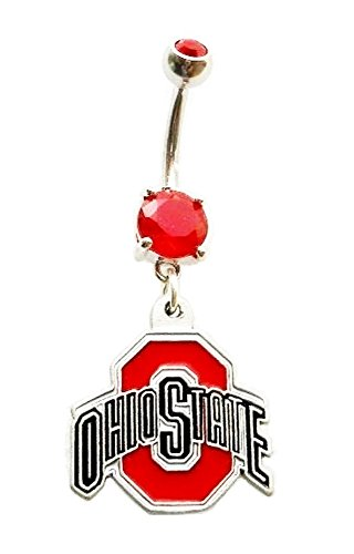 OSU OHIO STATE UNIVERSITY BUCKEYES Red CZ Navel Belly Button Ring Body Jewelry Piercing