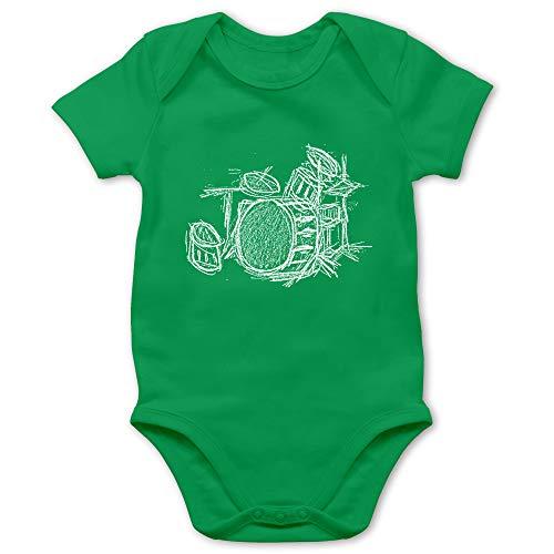 beVintage Music - Schlagzeug - Kreidezeichnung - 6/12 Monate - Grün - Baby Body rot - BZ10 - Baby Kurzarm Body Strampler