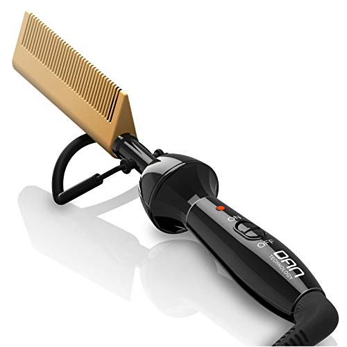 DAN Technology Electric Hot Comb Hair & Beard Straightener - Professional Ceramic Pressing Combs for Black Hair, Beard and Wigs, High Heat 450 ℉ Anti-Scald Hot-Air Hair Brushes for Travel and Home