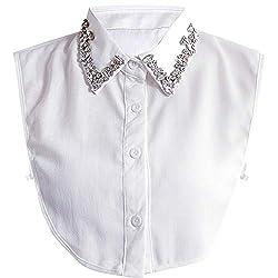 Stylish Detachable Rhinestone Fake Collar Half Shirt