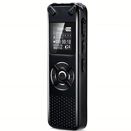 Grabadora de Voz Digital Portatil, SP-Cow 8GB Grabadora Audio Recargable, grabación HD de 1536kbps,reducción de Ruido, con Soporte Tarjeta SD 32GB, para Reuniones, Conferencias, Entrevistas, Lecciones