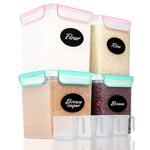 4 Large Airtight Food Storage Containers for Flour, Sugar 142oz - Kitchen Pantry Plastic Containers - Air Tight Canisters Set With Locking Lids - 8 Labels, Marker and 4 Measuring Cups(Pink,Aquamarine)