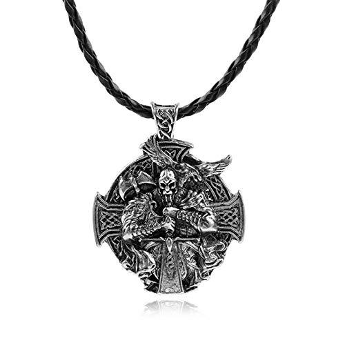 LEERIAN Collar de Hombres Vikini Warrior Odin Cuervo aleación Colgante, Cadena de Acero Inoxidable Moda Retro Amuleto decoración Regalos Hombres y Mujeres,B