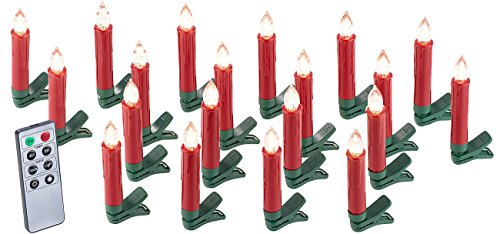 Lunartec Baumkerzen: 20er-Set LED-Weihnachtsbaum-Kerzen mit IR-Fernbedienung, rot (Kabellose Kerzen)