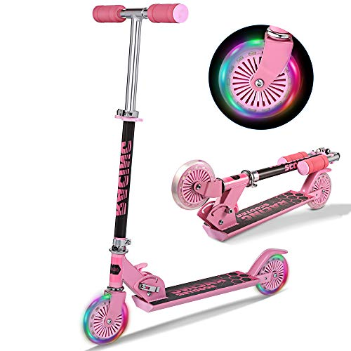 Scooter for Kids Folding Scooters with LED Light Up 2 Wheels Adjustable Height Rear Fender Kick Scooters for Girls Boys Toddler Ages 312 Years Bearing Capacity 110lb Pink