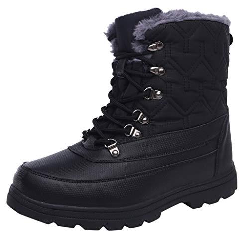 Andouy Damen Winter Mid-High Sneaker Casual Sport Schneeschuhe Warme Wanderschuhe mit Plüsch(40 EU,Schwarz)