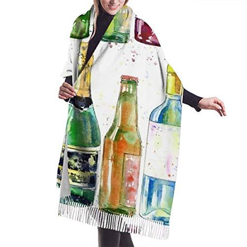 leyhjai Patrón sin fisuras de un Champagne Coñac Vino Cerveza y vidrio Pintura de una bebida alcohólica Envoltura de mantón de acuarela