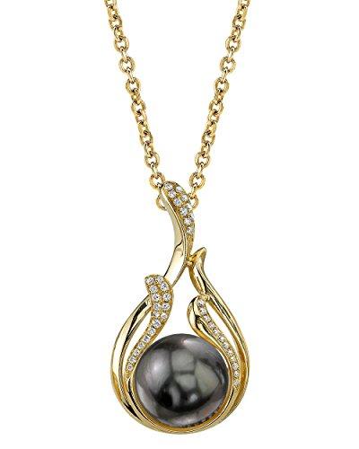 The Pearl Source   14k (585)  oro giallo  Rotonda Perla di Tahiti coltivata  Diamante Perla