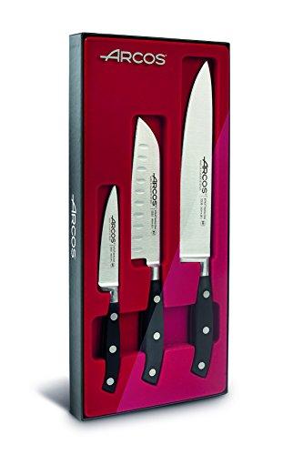 Arcos Serie Riviera, Juego Cuchillos Cocina 3 piezas, 1 Cuchillo Mondador + 1 Santoku + 1 Cuchillo de Chef, Hoja de Acero Inoxidable Forjado Nitrum, Mango de Polioximetileno, POM, Color Negro