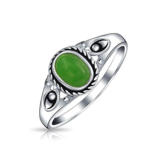 Petite Cabochon Boho Fashion Bali Style Oval Dyed Green Jade Bezel Filigree Band Ring For Women 925 Sterling Silver August Birthstone