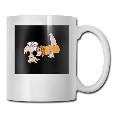 Lsjuee Cartoon Golden Retriever Dog Las mejores ideas de regalos para el día del padre para tazas de café Taza de regalo de Navidad divertida Taza de bebida de personalidad