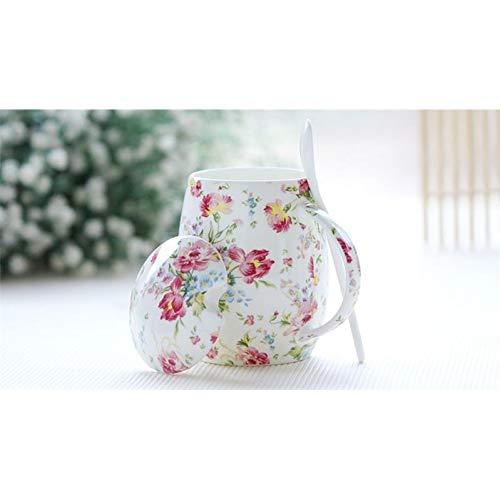 Erjialiu 450 ml de Oro Lindo con Pintura Floral de Rosa, Porcelana de Hueso, Taza de cerámica, Vientre Gordo diseñado, Taza de Esmalte, Auto Taza Cubierta para té,Estilo 1
