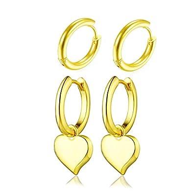 AONED 14k Gold Plated Huggie Hoop Earrings | He...