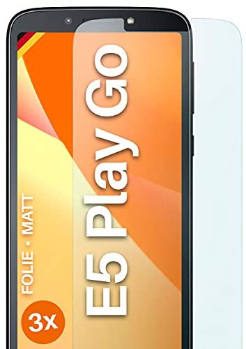 moex Schutzfolie matt kompatibel mit Motorola Moto E5 Play Go - Folie gegen Reflexionen, Anti Reflex Bildschirmschutz, Matte Bildschirmfolie - 3X Stück
