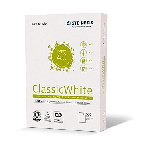 Steinbeis ClassicWhite DIN A4, Papel multifunción, Color Blanco, 80 g/m², 5 x 500 hojas