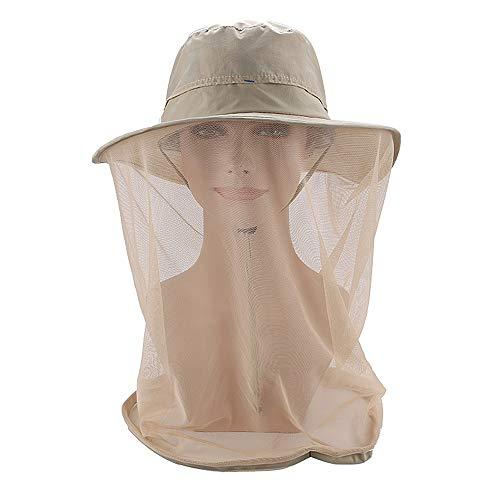 Lixada Moustique Head Net Hat, Chapeau Safari Sun Hat Seau Chapeau avec Filet caché Protection Contre Les Insectes Insectes Bee Moustique Moustique pour pêche en Plein air Jardin randonnée