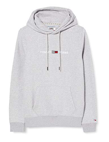 Tommy Jeans Herren TJM Straight Logo Hoodie Pullover, Grau (Lt Grey Htr), X-Small