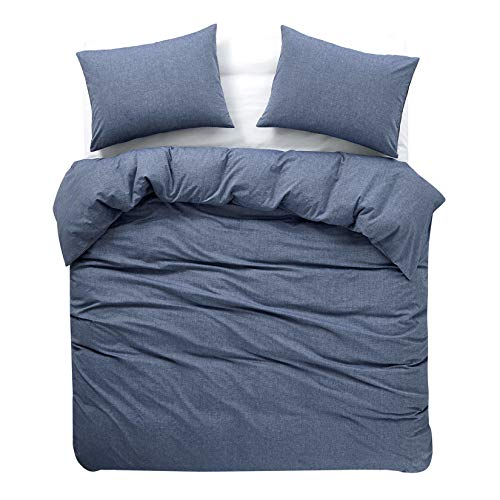 Wake In Cloud - Denim Blue Duvet Cover Set, 100% Washed Cotton Yarn Dyed Plain Solid Color, Comfy Bedding with Zipper Closure Corner Ties (3pcs, Full Size)