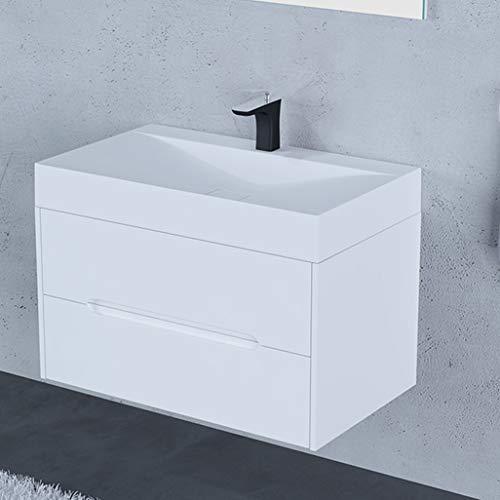 LCF badkamer handgemaakte schort enkele kom 50 cm wastafel met basiskast 2 lades walnoot badkamer meubilair wit hoogglans opknoping badkamer meubels