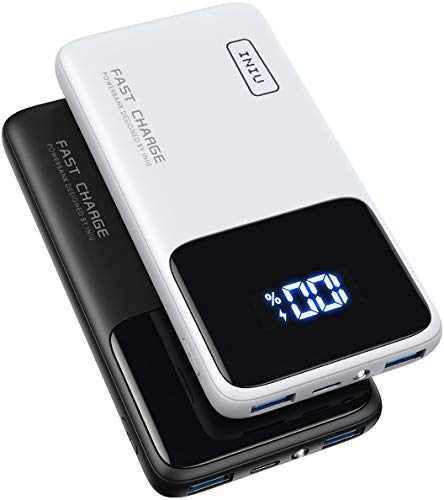 INIU Power Bank, 【2 Pack】 18W PD 3.0 USB C Fast Charge 10500mAh LED Display Portable Charger, External Battery Pack with Phone Holder & Flashlight for iPhone 12 11 Pro Samsung S20 Tablet AirPods iPad
