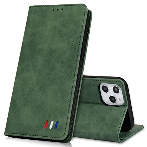 UEEBAI Funda con tapa para Samsung Galaxy S8 Plus, estilo retro, de piel sintética de poliuretano termoplástico suave, con tarjetero, función atril, cierre magnético, color verde oscuro