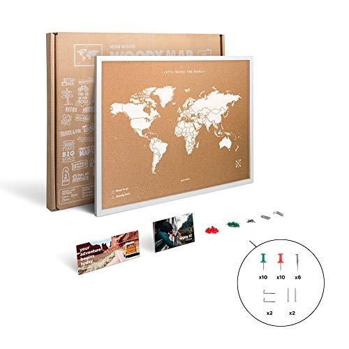 Miss Wood My World Weltkarte aus Kork, mit Holzrahmen, Weiß, 48x 63x 1,5cm