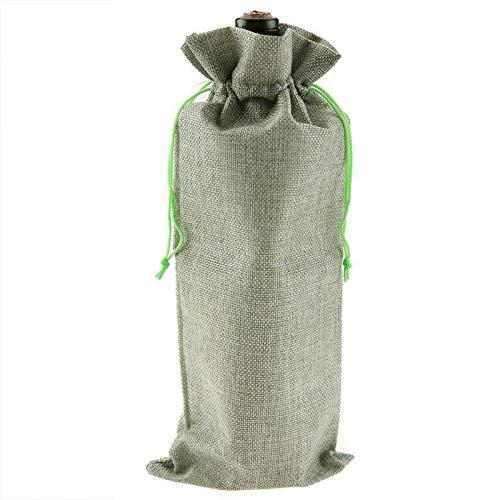 CHUJIANo Tejido 12pcs nuevos duraderos de Vino Tela Bolsas Botella de Vino Rojo de Cristal Bolsa de Viaje de Bodas Regalo de la Bolsa Reutilizable de Accesorios de Vino (Color : Light Green)