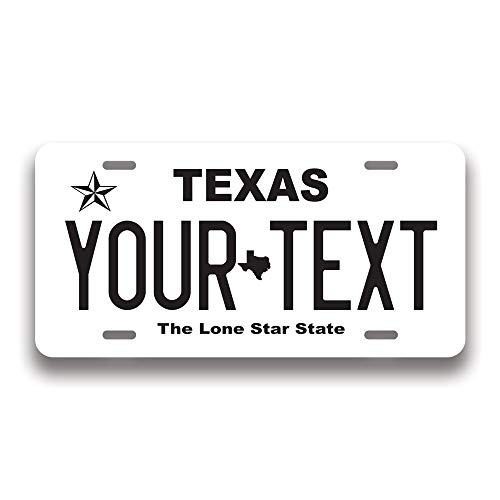 Custom 50 State License Plate | Custom Texas Fake License Plate for Front of Car | Personalized Custom Car Tags | Choose from All 50 States | 6 x 12 Inch | Crafted in USA