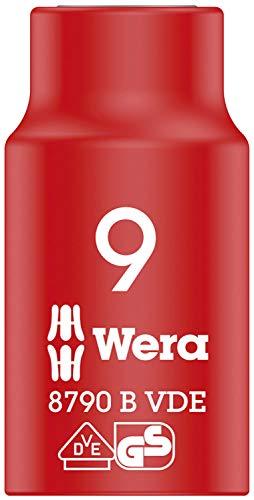 Wera 05004953001 8790 B Llave de vaso Zyklop VDE, aislada, con arrastre de 3/8', Red/Yellow, 9.0 x 46.0 mm